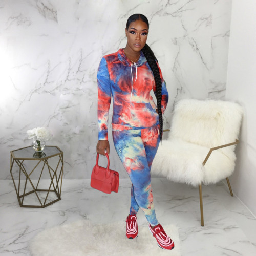 Rose Blue Casual fashion tie dyed two piece hooded sports suit