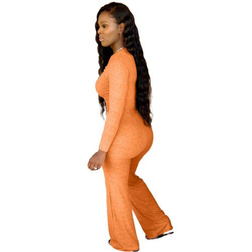 Orange Pure color chest pleated casual jumpsuit