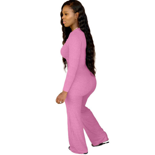 Rose Red Pure color chest pleated casual jumpsuit