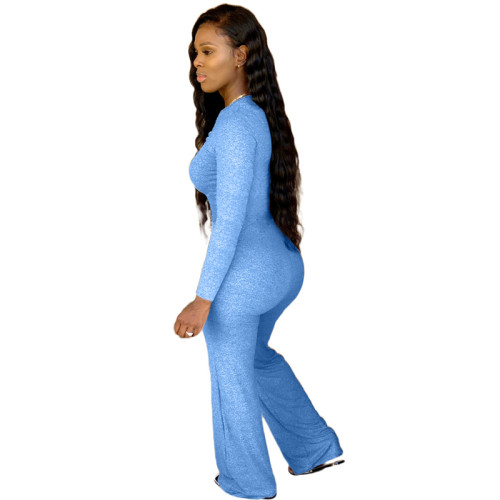 Blue Pure color chest pleated casual jumpsuit