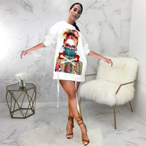 White Sexy fashion hot figure print stitching dress