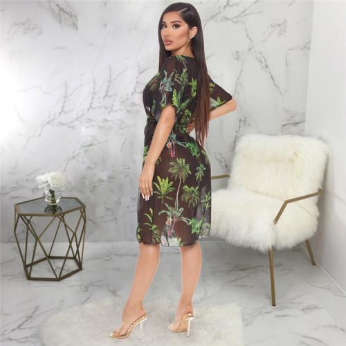 Black Sexy fashion super elastic screen printed home dress