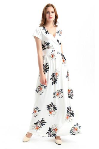 White Sexy print fashion swing dress