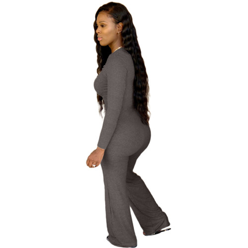 Gray Pure color chest pleated casual jumpsuit