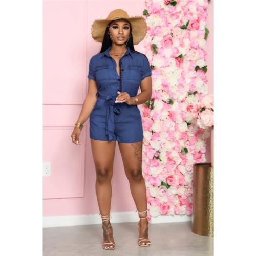 Dark Blue Fashion denim women's slim Jumpsuit