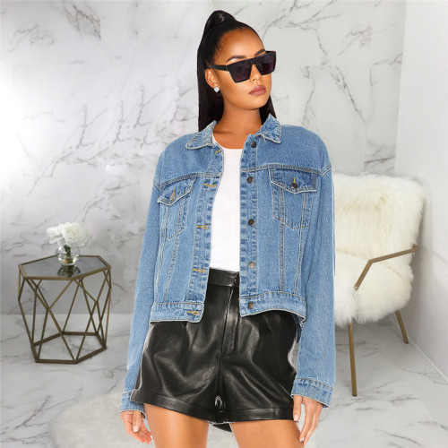 Blue Casual and fashionable short women's jeans jacket