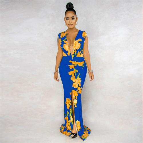 Blue&Yellow Sexy fashion sleeveless V-neck print stitching dress
