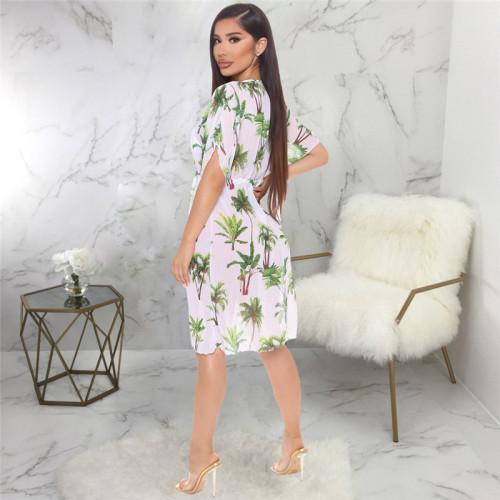 White Sexy fashion super elastic screen printed home dress