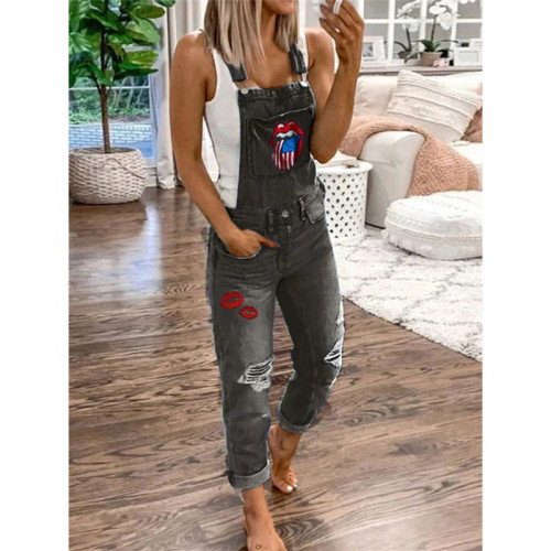 Gray Sexy fashion denim women's slim strap Jumpsuit