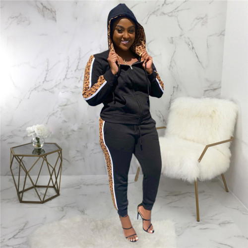 Black Two sets of leisure fashion sports hoods