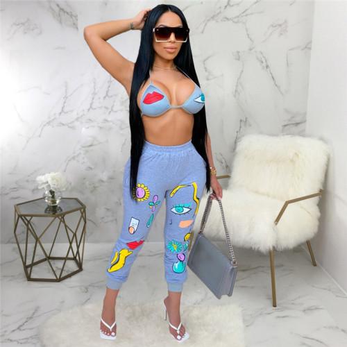 Light Blue Sexy fashion classic versatile women's single pants