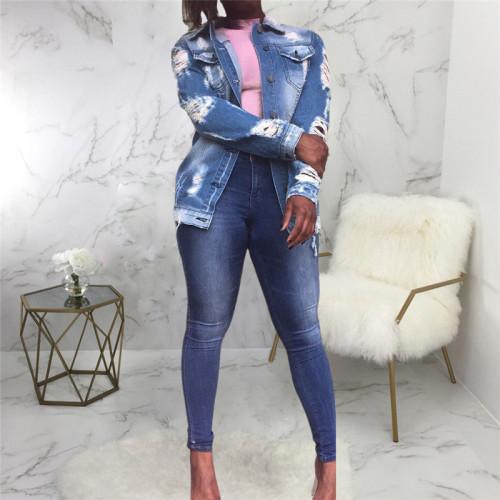 Blue Sexy fashion versatile winter women's jeans jacket