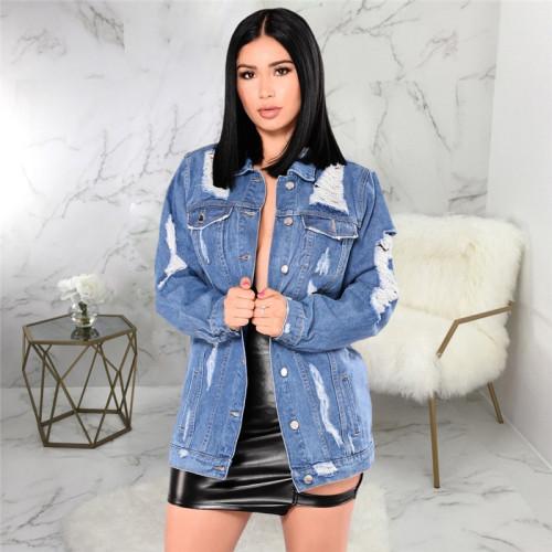 Dark Blue Sexy fashion women's jeans jacket