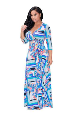 Light Blue Sexy print fashion swing dress
