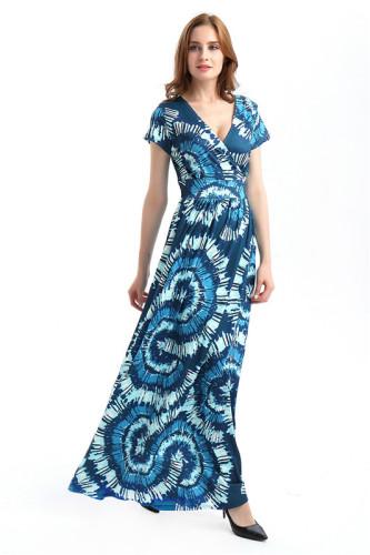 Blue Sexy print fashion swing dress