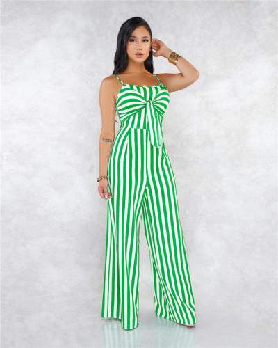 Green Sexy striped suspender bra strap wide leg Jumpsuit