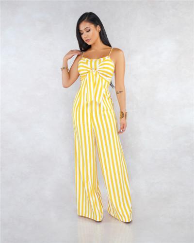 Yellow Sexy striped suspender bra strap wide leg Jumpsuit