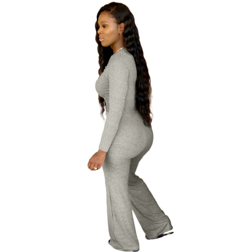 Light Gray Pure color chest pleated casual jumpsuit