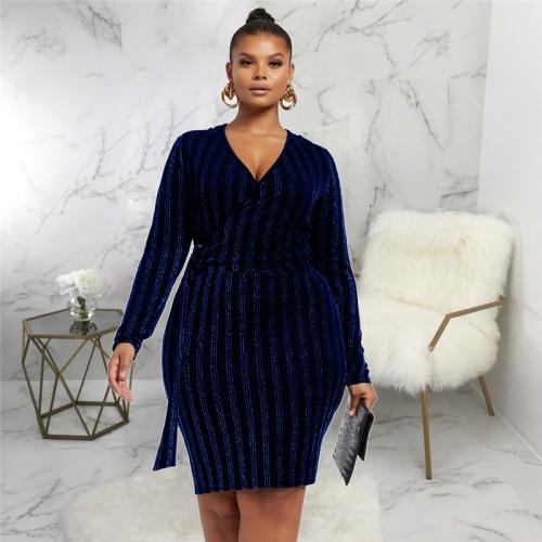Blue Sexy fashion hot V-neck dress