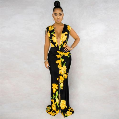 Black&Yellow Sexy fashion sleeveless V-neck print stitching dress