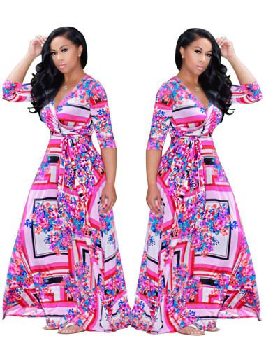 Pink Sexy print fashion swing dress