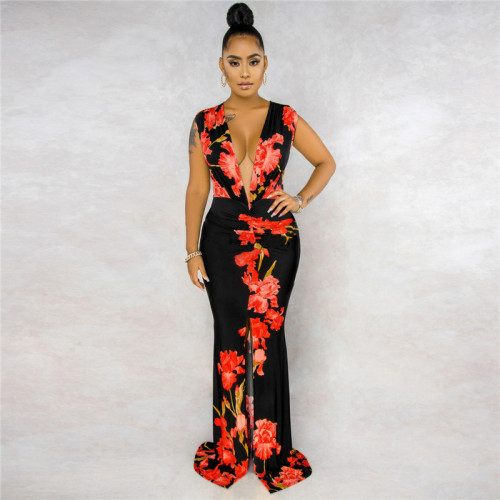 Black&Red Sexy fashion sleeveless V-neck print stitching dress