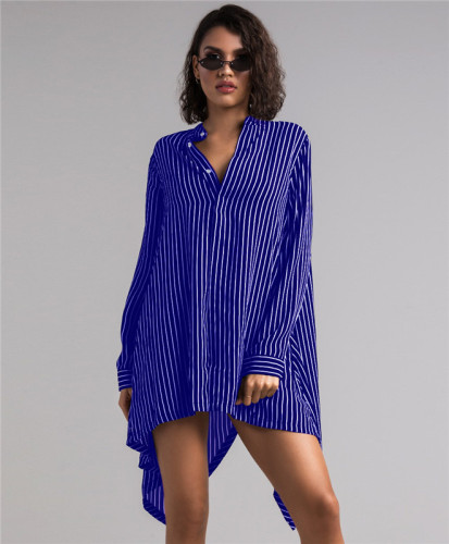Blue Sexy and fashionable women's shirt and skirt