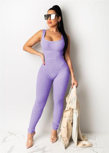 Purple Hip lift yoga sports overalls