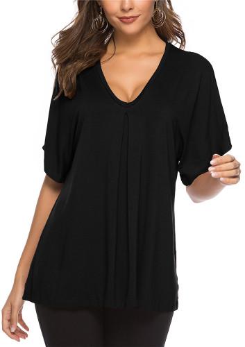 Black Sexy solid color casual cotton top