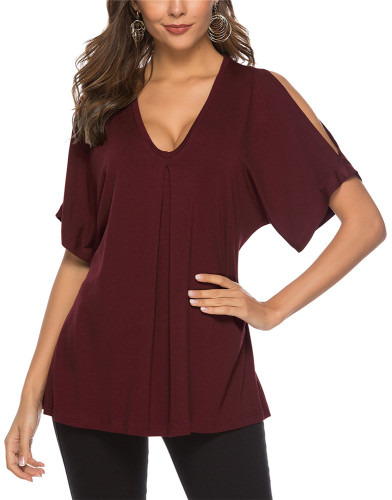 Red Sexy solid color casual cotton top