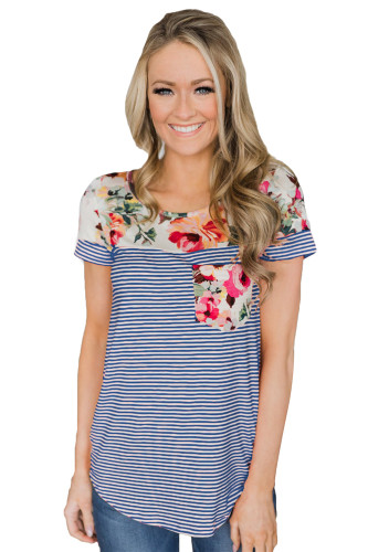 Blue Sexy printed pocket top