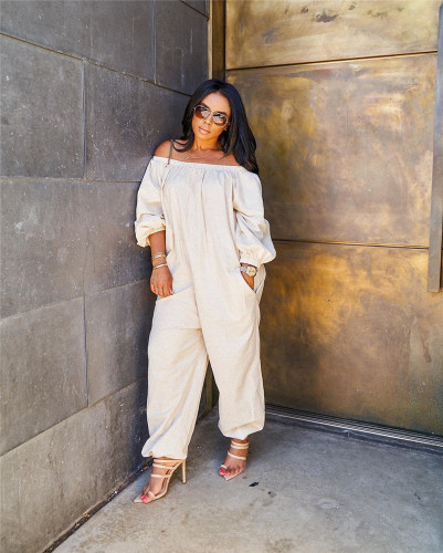 White Solid color loose casual jumpsuit