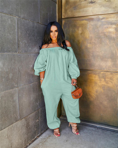 Green Solid color loose casual jumpsuit
