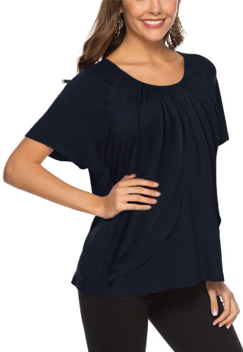 Blue Sexy solid color casual cotton top