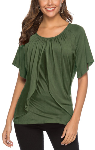 Green Sexy solid color casual cotton top