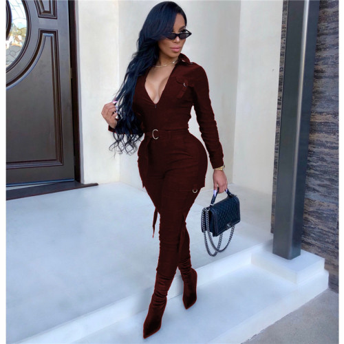 Claret Fashion casual tight leg sportswear Jumpsuit