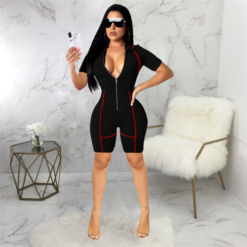 Black Sexy fashion slim short Jumpsuit