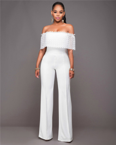 White Fashionable loose casual one-piece pants with side zipper