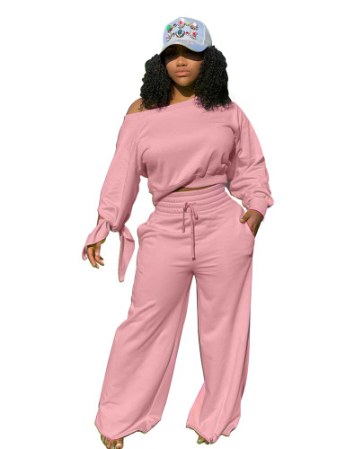 Pink Casual fashion solid color round neck 2-piece set