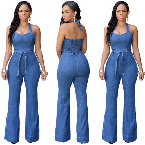Blue Slim casual Jumpsuit with belt