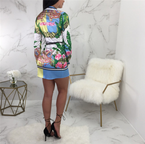 Light Blue Fashion printed multicolor women's shirt skirt