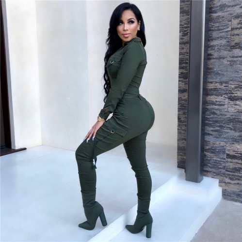Green Fashion casual tight leg sportswear Jumpsuit