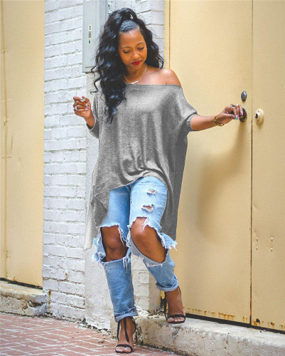 Gray Casual fashion oblique shoulder irregular long sleeve top