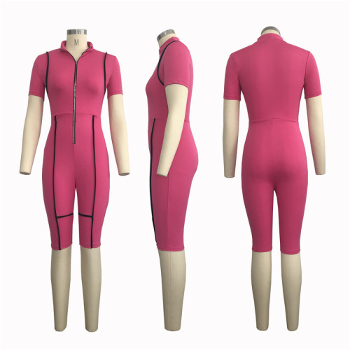 Rose Red Sexy fashion slim short Jumpsuit