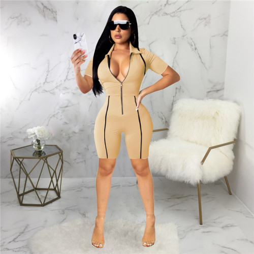 khaki Sexy fashion slim short Jumpsuit