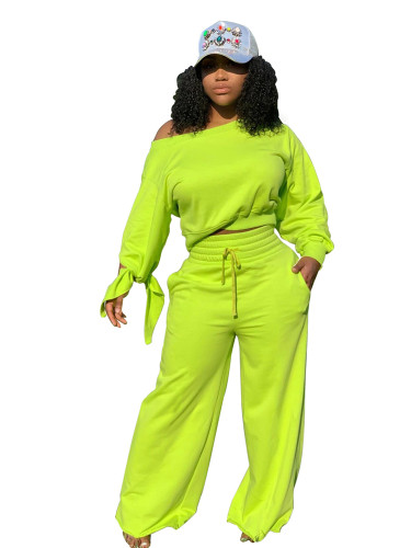 Green Casual fashion solid color round neck 2-piece set