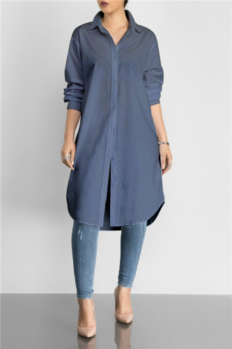 Dark Blue Fashion medium length solid color versatile shirt