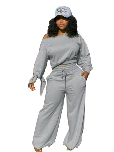 Gray Casual fashion solid color round neck 2-piece set