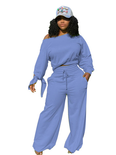 Blue Casual fashion solid color round neck 2-piece set