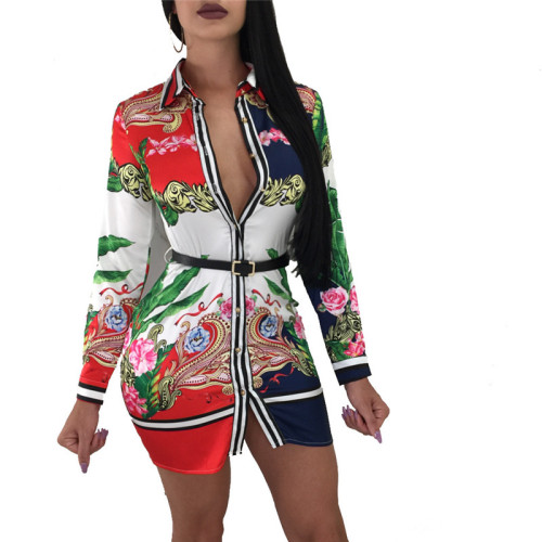 Red Fashion printed multicolor women's shirt skirt